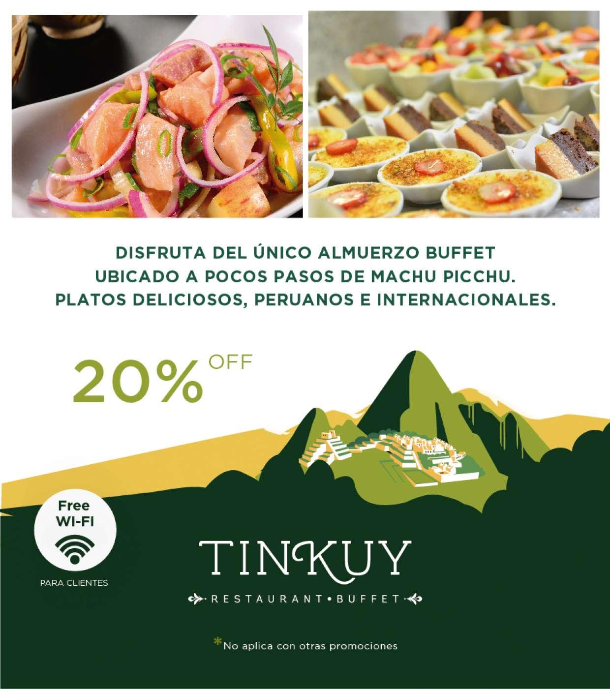 20% en el único buffet al lado de Machu Picc