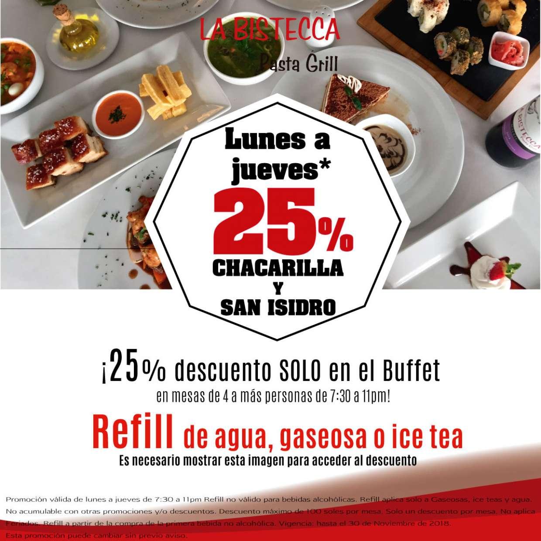 25% en Chacarilla y San Isidro de lunes a jueves*